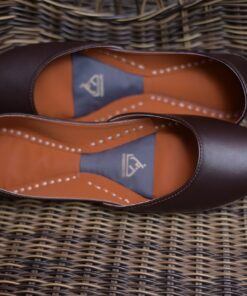 Plain Leather Khussa Chocolate Brown 2