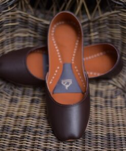 Plain Leather Khussa Chocolate Brown